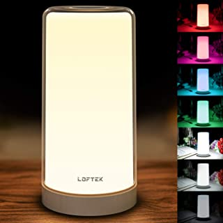 Bedside Lamp Touch Sensor, Table Lamp Dimmable RGB Color Changing Led Night Light, Modern Desk Lamps Warm White Light Multicolor Lighting Memory Function for Bedrooms Living Rooms Reading Nursery Lamp