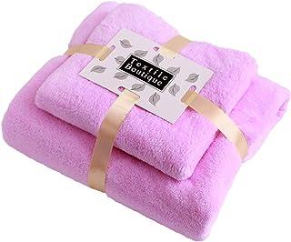 Jingge Toallas de Lana de Coral, 2 Toallas de baño, Textiles para el hogar, pacas, 1 toallita Facial, 1 Toalla de baño, Ul...