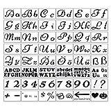 Happy Finding, 48 stencil per lettere, 21 x 15 cm, con lettere dell'alfabeto tedesco, lettere maiuscole per il fai da te e il disegno