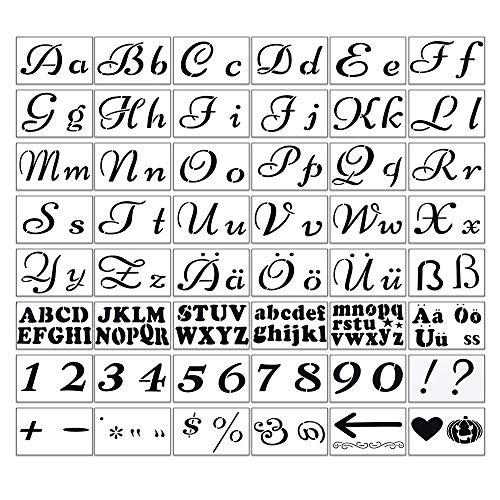 HAPPY FINDING 48 Stück Buchstaben Schablone, 21 x 15 cm Deutsches Alphabet Malerei Zahlen Und Symbol Englisches Alphabet Großbuchstaben Kleinbuchstaben für DIY-Scrapbooking Zeichnen Bastelzubehör