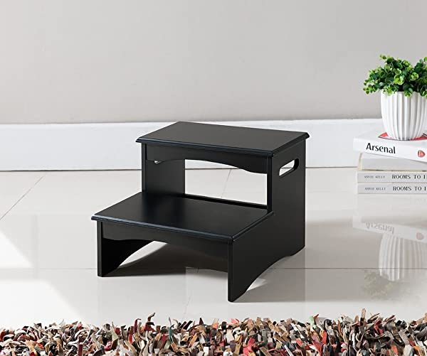 Kings Brand Furniture Courtney Black Finish Wood Bedroom Step Stool