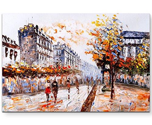 Paul Sinus Art Leinwandbilder | Bilder Leinwand 120x80cm Straße in Paris – Ölgemälde