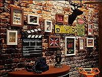 Q&Z複数の額縁フォトフレームコラージュ鹿壁掛け型ヴィンテージ素朴な産業用スタイル時計付きぶら下げ写真ディスプレイ10個作品ホームフレームカフェパブホテル