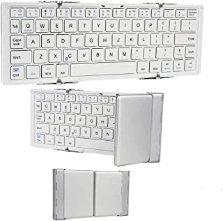 Cooper Optimus [Folding Bluetooth Keyboard] for Archos 70 / 70b / 79/80 / 80b / 97/101 Xenon | Rechargeable Lithium Battery (White & Silver)