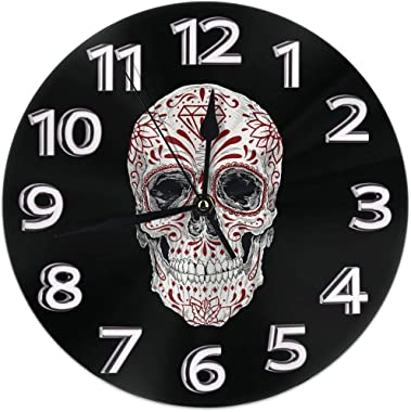 Clock Number Realistic Day of The Dead Sugar Skull Decorative Wall Clock Universal Non - Ticking Elegant Wall Clock for Office Decor Simple Style 10in
