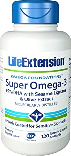 Life Extension Super Omega-3 EPA/DHA w/Sesame Lignans & Olive Extract Exteric Coated 120 Softgels