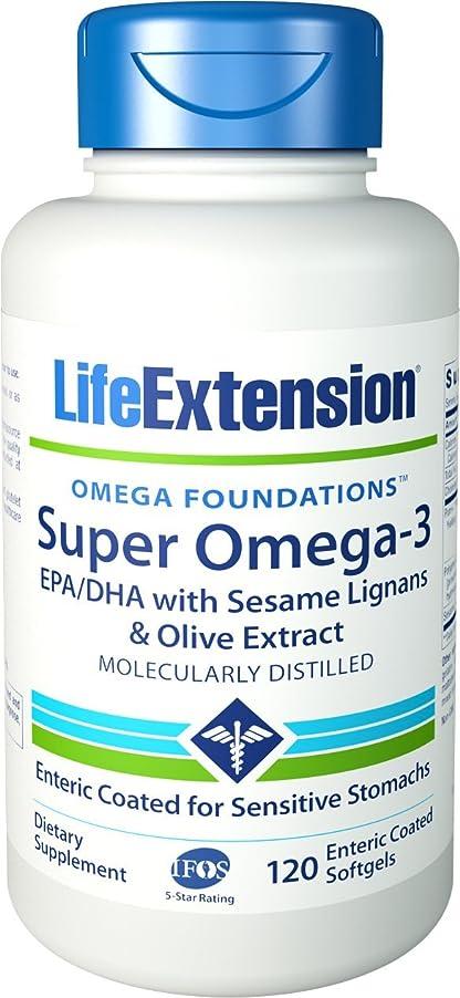 降伏粘土後世海外直送品 Life Extension Super Omega-3 EPA/DHA with Sesame Lignans & Olive Fruit Extract, enteric coated, 120 softgels