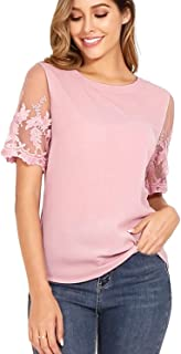 Women's Lace Sleeve Tops Chiffon Top T-Shirt Blouse