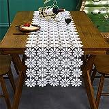 SWECOMZE Mantel vintage bohemio blanco con flores de encaje de macramé, hecho a mano, para...