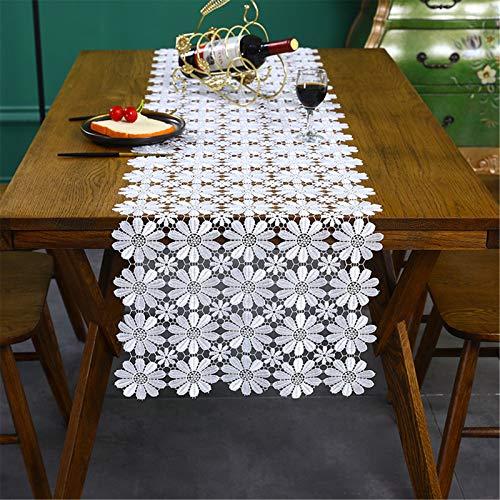 SWECOMZE Tischdecke Vintage Boho Weiße Blumen Spitze Makramee Tischdecken Handmade Crochet Lace Tischläufer für Hochzeit Dekor (40 x 180cm)