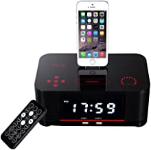 OOLIFENG Bedside Alarm Clock Bluetooth Stereo Mobile Phone Charging Base,for iPhone 7 Plus 7-6s - 6-5s -5 Nano 7G, Touch 5G, IPad Mini and iPads