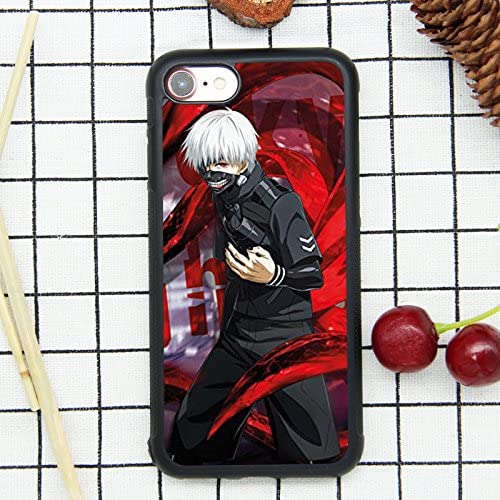 Anime Tokyo Ghoul Keneki Ken Theme Case for iPhone 7, iPhone 8 (4.7 Inch) Comic TPU Silicone Gel Edge + PC Bumper Case Skin Protective Printed Phone Full Protection Cover