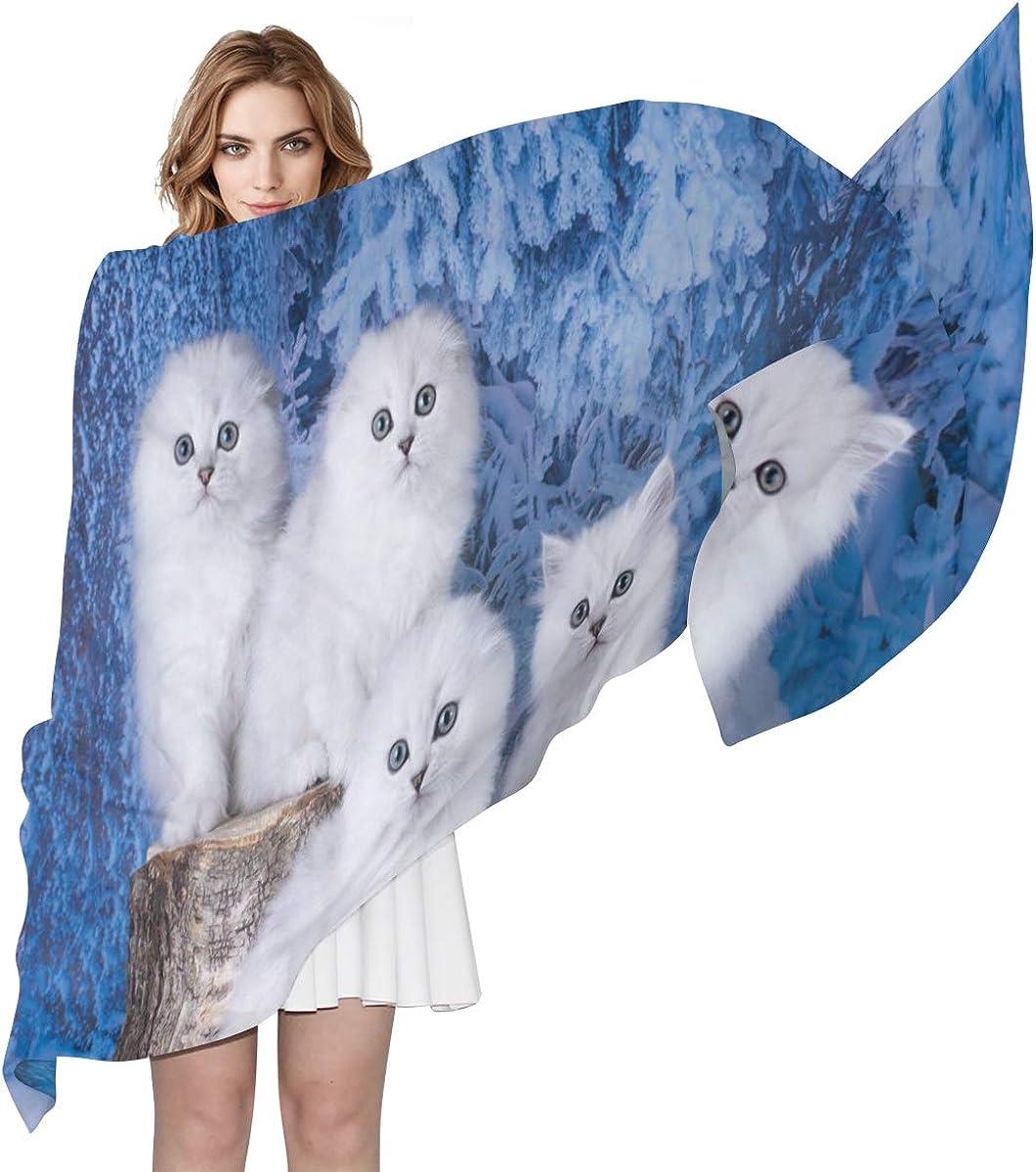 XLING Fashion Scarf Cute Animal Cat Winter Long Lightweight Sunscreen Scarf Shawl Wrap Muffler Neckerchief for Women Men