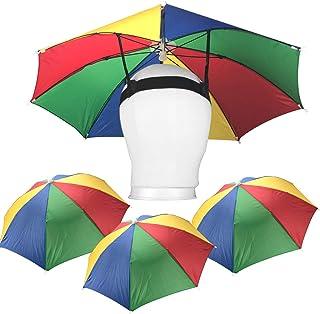 Playko 20 Inch Umbrella Hats - Pack of 4 Hands Free Umbrellas - Beach Party Umbrella Hats for Adults, Kids - Adjustable Um...