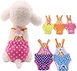 Luck Dawn Dog Diapers, Washable & Reusable Puppy Sanitary Panties with Adjustable Tighten Strap