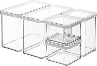 Rotho, Loft, Set van 5 opbergdozen met deksel in verschillende maten, Kunststof (SAN) BPA-vrij, transparant / wit, 2 x 2,1...