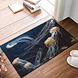 QDYLM Alfombra de baño de Microfibra esponjosa,Océano Azul Moteado Medusa Medusa Acuario Vida Animales Marinos Depredador en Aguas profun alfombras de Ducha de Suave Absorbente de Agua, 50x80 cm
