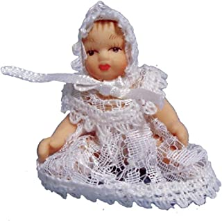Melody Jane Dollhouse Victorian Baby in White Lace Miniature Porcelain People