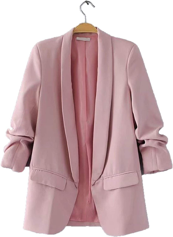 Ytbhome OL Puff Sleeve Workwear Blazer No Button Three Quarter Ladies Outwears