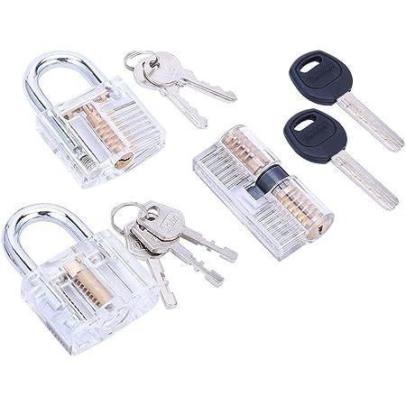 6 Pcs Locksmith Transparent Padlock Set Practice Lock Cutaway with Key