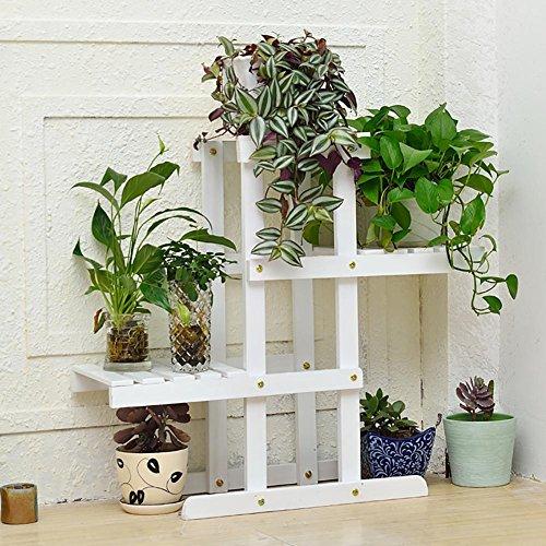 RJZHJ européen Bois massif Bois de pin Multi-couche sol Support de fleurs Personnalité créative balcon jardin patio sol Pot de fleurs Cadre de l'usine , Blanc , 72*66cm
