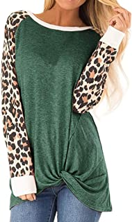 Holzkary Women's Leopard Print Pullover Side Twist Knotted Long Sleeve Casual Tops Blouse