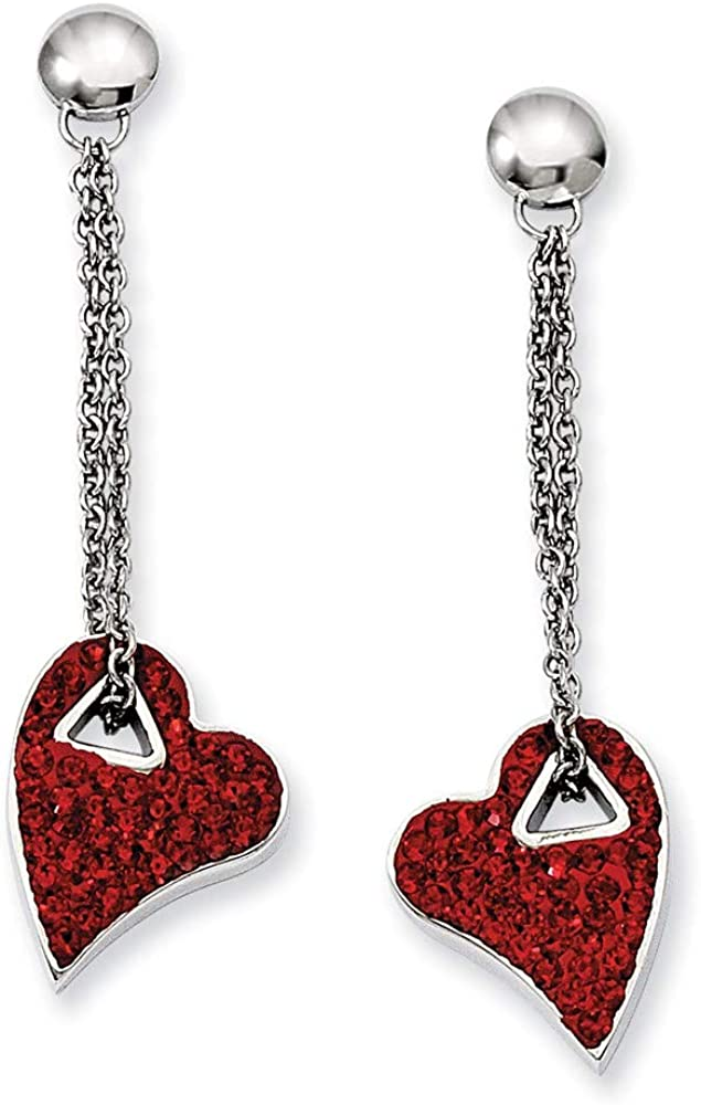 Stainless Steel Red Crystal Heart Post Stud Drop Dangle Chandelier Earrings Love Fashion Jewelry For Women Gifts For Her