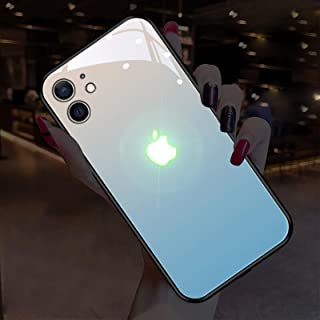 グローイングケースiPhone 12 / 12Pro、LEDコールフラッシュライトiPhone 12 Mini 、iPhone 12 Pro Max ケース音声起動ライトアップロゴケースイルミネーションカバー強化ガラスバックカバー耐衝撃保護ケー...