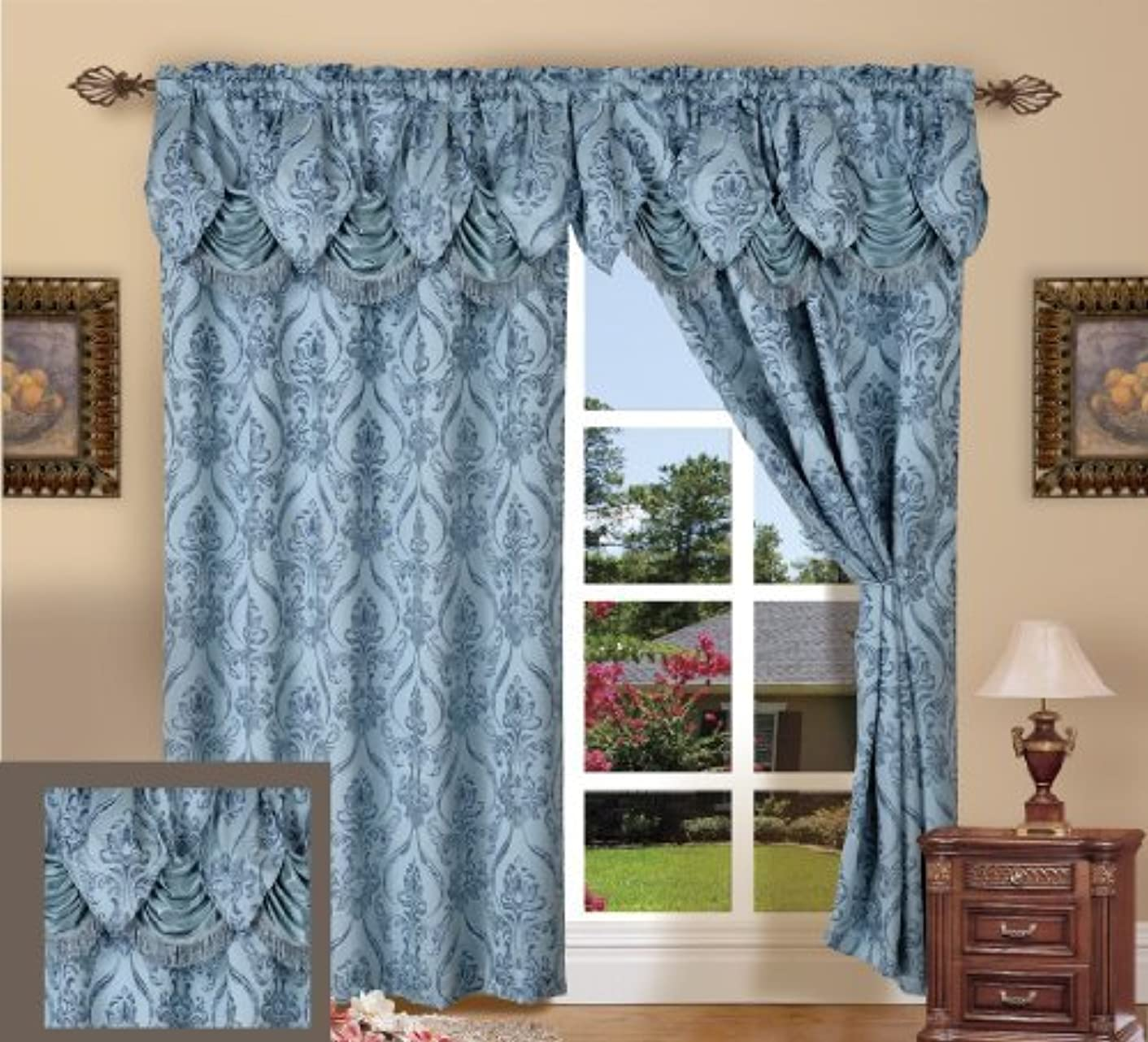 Elegance Linen Beautiful Design Jacquard Look Curtain Panels 55
