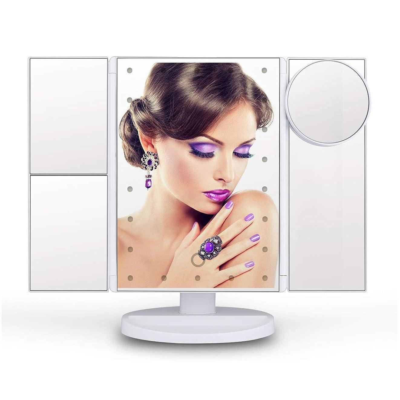 公演アーティキュレーションシリアルDong-WW 鏡 カウンター化粧品メイクアップミラー用180度調節可能なスタンド充電ライトアップ化粧メイクアップミラー、LEDライトタッチスクリーンとUSB