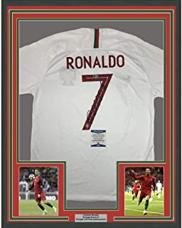 Framed Autographed/Signed Cristiano Ronaldo 33x42 Portugal White World Cup Soccer Futbol Jersey Beckett BAS COA