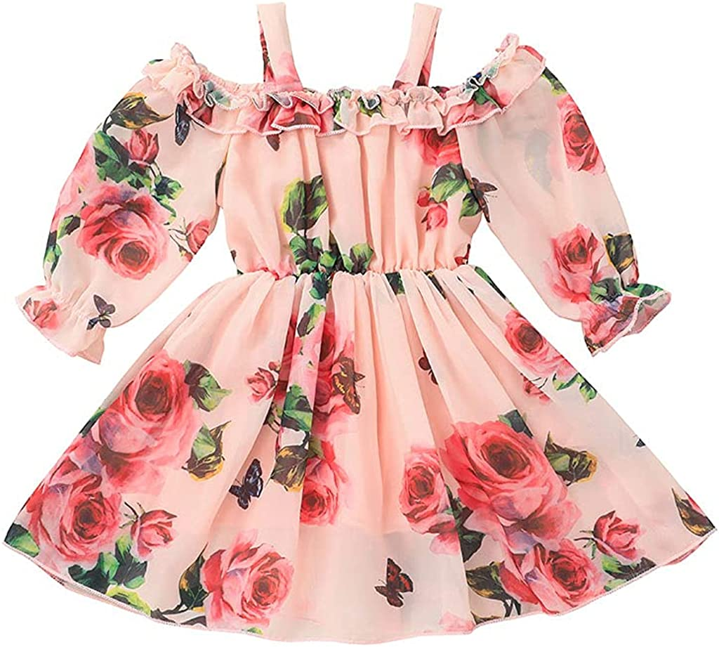 KuKitty Summer Toddler Baby Girls Max 84% OFF Floral Princess Chiffon Our shop OFFers the best service Dress