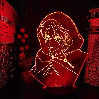 Tatapai Attack on Titan Eren Jaeger 3D LED Anime Nachtlicht Lampe Attack Titan Eren Nachtlicht Tischlampe für Weihnachtsgeschenk - Schwarzer Sockel ohne Fernbedienung