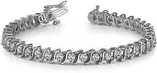 Madina Jewelry 5.00 ct Round Cut Diamond S-Type Tennis Bracelet