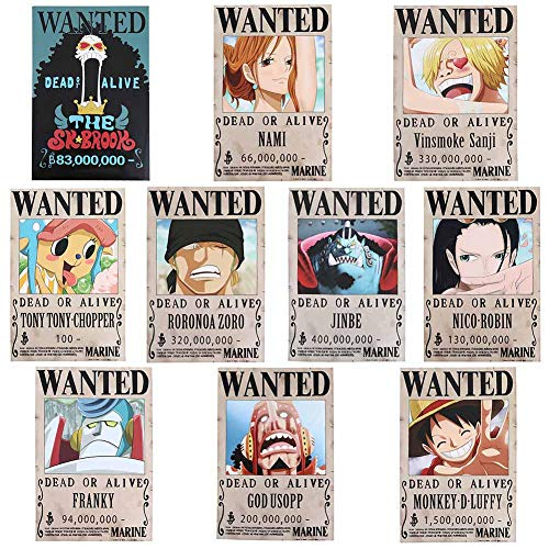 Loheag Clinor 10pcs One Piece Poster Wanted | Monkey D Luffy, Sanji, Roronoa Zoro, Nami, Usopp, Chopper, Nico Robin, Franky, Brook, Jinbe Anime Poster