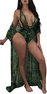 Women's New Colorful Dyeing Bikini One Piece Swimsuit+Ponchos Cover
