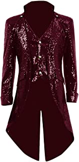 URSING Herren Mantel Jacke Lang Uniformkleid M/änner Langarm Gothic Gehrock Uniform Kost/üm Party Oberbekleidung Vintage Punk Stil Karneval Uniform Cosplay Kost/üm Outwear