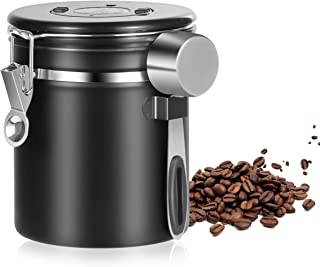 Airtight Coffee Container Canister - Stainless Steel Coffee Canister with co2 Valve and Scoop - Sealed Cantilever Lid with Numerical Day/Month Tracker - 16oz (Black)