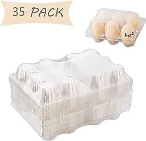 Clear Plastic Egg Cartons - Count Egg Holder, Reusable Fresh Egg Container for Storing Eggs for Kitchen/Groceries/Market/Farm/Farmers (35 Pack) LIZHE…