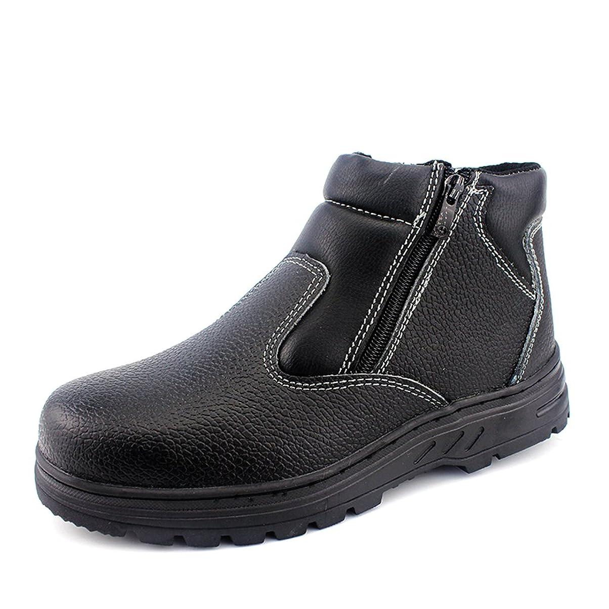[Placck安全] 安全靴 ハイカット 23cm-27.5cm 短靴 耐油 防護 黒色 防滑 防寒
