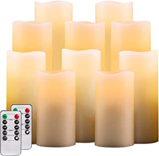 Flameless Candle,Salipt LED Waterproof Candles Set of 10 (D 2.2'' X H 4''4''5''5''5''6''6''6''7''7'') Battery Operated Candles,Waterproof Flameless Candles, Resin Plastic,Indoor Outdoor Use,Ivory