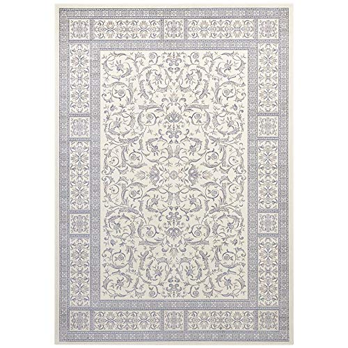 Samt Teppich Orient Antik Jugendstil Nain Bordüre Ornamente klassisch, Größe:160x230 cm, Farbe:Creme/Jeansblau