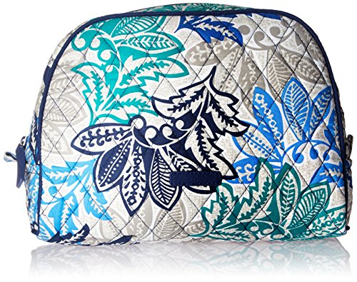 Vera Bradley Women's Signature Cotton Large Zip Cosmetic Makeup Bag, Santiago, One Size