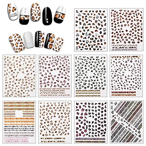 10 hojas Estampado de leopardo Pegatinas Uñas, Autoadherentes (1500 + piezas), Sexy Estampados de Animales Nail Art Stickers de Uñas Postizas Adhesivos Decoracion de postizas uñas para Niña Mujer