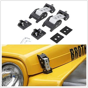 1 Pair Mallofusa Hood Catch Kit Latch Locking Bracket Buckle Holder Compatible for 1997-2006 Jeep Wrangler TJ Black