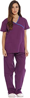11148W Just Love Women's Scrub Sets / Medical Scrubs / Nursing Scrubs - L, Eggplant with Royal Blue Trim,Eggplant With Royal Blue Trim,Large