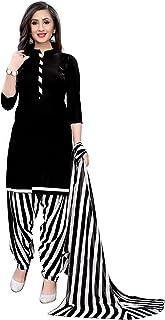 TreegoArt Fashion Women Printed Crepe Un-Stitched Salwar Suit Dress Material -(Free Size) Black