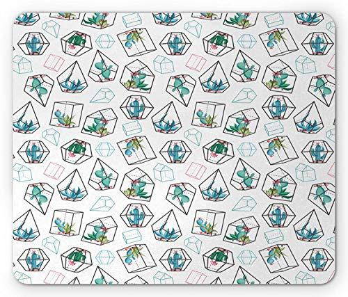 Mousepad Aquarium Kakteen Mit Blumenbild In Glockenglas Entworfen Mit Geometrischem Muster Weiß Und Kundenspezifischem Rechteck Spiel Komfortable 25X30Cm Rutschfeste Mausmatte Gum