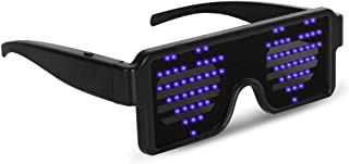 Blue LED Flash Glasses 8 Adjustable Patterns Luminous Flashing Shades Eye Wear for Birthday Party Corporate Events Raves M...