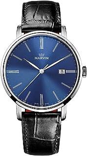 スイス製 Marvin Origin シリーズ 石英ムーブメント ステンレスケース 靑の時計文字盤 黒色ワニ紋革の時計バンド メンズ腕時計